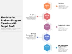 Five Months Business Progress Timeline With Target Profit Ppt PowerPoint Presentation Pictures Show PDF