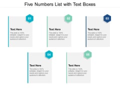 Five Numbers List With Text Boxes Ppt PowerPoint Presentation Infographics Tips