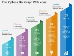 Five Options Bar Graph With Icons Powerpoint Template