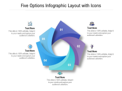 Five Options Infographic Layout With Icons Ppt PowerPoint Presentation Ideas Maker