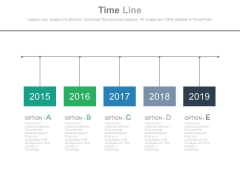 Five Options Timeline Diagram With Years Tags Powerpoint Slides