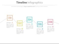 Five Options Zigzag Timeline Diagram Powerpoint Slides