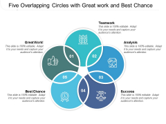 Five Overlapping Circles With Great Work And Best Chance Ppt PowerPoint Presentation Ideas Vector