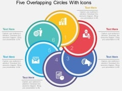 Five Overlapping Circles With Icons Powerpoint Template