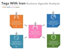 Five Paper Tags With Icons To Present Agenda Powerpoint Slides