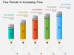 Five Pencils In Increasing Flow Powerpoint Template
