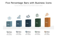 Five Percentage Bars With Business Icons Ppt PowerPoint Presentation Styles Objects
