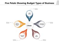Five Petals Showing Budget Types Of Business Ppt PowerPoint Presentation Infographic Template Slide Portrait PDF