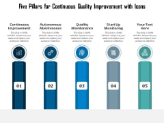 Five Pillars For Continuous Quality Improvement With Icons Ppt PowerPoint Presentation Infographics Guidelines PDF