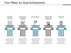 Five Pillars For Goal Achievement Ppt Powerpoint Presentation File Slide Portrait