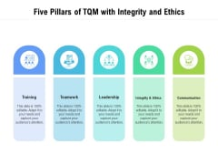 Five Pillars Of TQM With Integrity And Ethics Ppt PowerPoint Presentation Infographic Template Show PDF