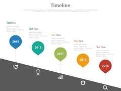 Five Pointers Timeline Diagram With Icons Powerpoint Slides