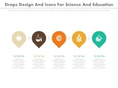 Five Pointers With Science And Education Icons Powerpoint Template