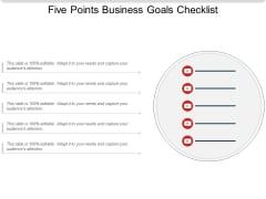 Five Points Business Goals Checklist Ppt PowerPoint Presentation Summary Elements PDF