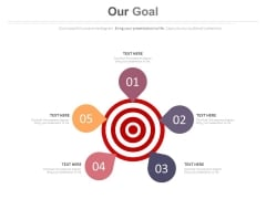 Five Points Circle With Target Board Powerpoint Slides