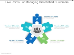 Five Points For Managing Dissatisfied Customers Powerpoint Slides