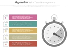 Five Points List With Stopwatch Powerpoint Slides