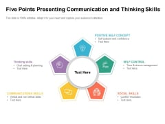 Five Points Presenting Communication And Thinking Skills Ppt PowerPoint Presentation Examples PDF