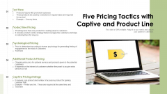 Five Pricing Tactics With Captive And Product Line Ppt PowerPoint Presentation File Designs PDF