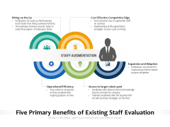 Five Primary Benefits Of Existing Staff Evaluation Ppt PowerPoint Presentation File Designs Download PDF