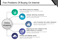 Five Problems Of Buying On Internet Ppt PowerPoint Presentation Infographic Template Visuals
