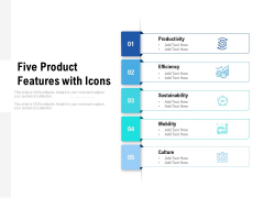 Five Product Features With Icons Ppt PowerPoint Presentation Infographic Template Graphics Tutorials