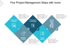 Five Project Management Steps With Icons Ppt PowerPoint Presentation Model Show
