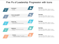 Five Ps Of Leadership Progression With Icons Ppt PowerPoint Presentation File Infographic Template
