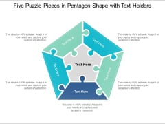 Five Puzzle Pieces In Pentagon Shape With Text Holders Ppt Powerpoint Presentation Pictures Slide