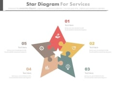Five Puzzles Steps Star Diagram With Icons Powerpoint Template