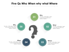 Five Qs Who When Why What Where Ppt PowerPoint Presentation Summary Visual Aids PDF