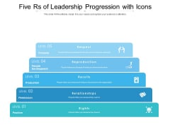 Five Rs Of Leadership Progression With Icons Ppt PowerPoint Presentation Ideas Diagrams