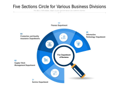 Five Sections Circle For Various Business Divisions Ppt PowerPoint Presentation File Templates PDF