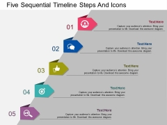 Five Sequential Timeline Steps And Icons Powerpoint Template