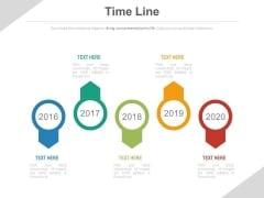 Five Sequential Year Tags Timeline Diagram Powerpoint Slides