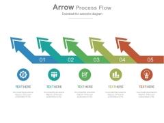 Five Slanting Arrows Process Flow Diagram Powerpoint Template