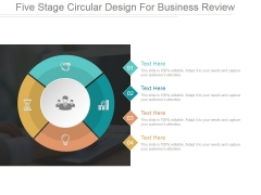 Five Stage Circular Design For Business Review Ppt PowerPoint Presentation Outline