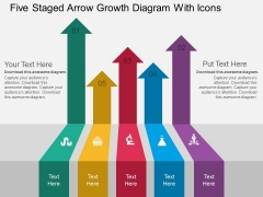 Five Staged Arrow Growth Diagram With Icons Powerpoint Template