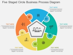 Five Staged Circle Business Process Diagram Powerpoint Template