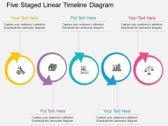 Five Staged Linear Timeline Diagram Powerpoint Template