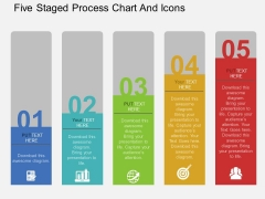 Five Staged Process Chart And Icons Powerpoint Template