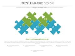Five Staged Puzzles Matrix Design Powerpoint Slides