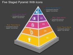 Five Staged Pyramid With Icons Powerpoint Template