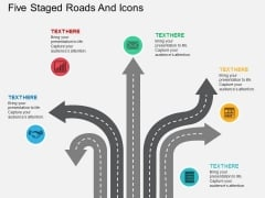 Five Staged Roads And Icons PowerPoint Template