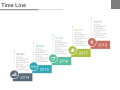 Five Staged Sequential Tags Timeline Powerpoint Slides