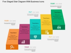Five Staged Stair Diagram With Business Icons Powerpoint Templates