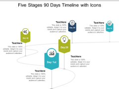 Five Stages 90 Days Timeline With Icons Ppt PowerPoint Presentation Inspiration Summary