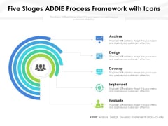 Five Stages ADDIE Process Framework With Icons Ppt PowerPoint Presentation File Show PDF