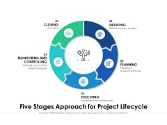 Five Stages Approach For Project Lifecycle Ppt PowerPoint Presentation Inspiration Good PDF