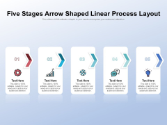 Five Stages Arrow Shaped Linear Process Layout Ppt PowerPoint Presentation Gallery Samples PDF